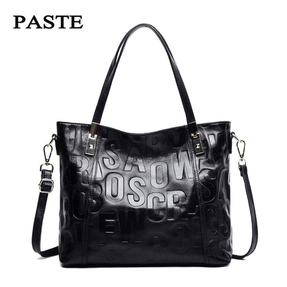 ФОТО PASTE 2017 Women Genuine Leather Handbags Oil Wax Leather Handbag Letter bag Women's Shoulder Bags Bolsa Femininas woman T458