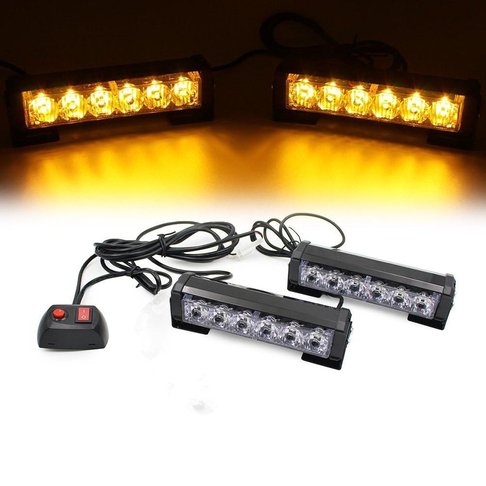 Car Truck Front Grille LED Strobe Flash Warning Light Auto Police LED Bar Emergency Light 12V Caution Lamp