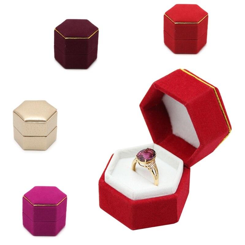 Engagement Hexagonal Finger Ring Box Jewelry Display Holder Velvet Ring Storage Box Case Valentines Day Gift Organizer