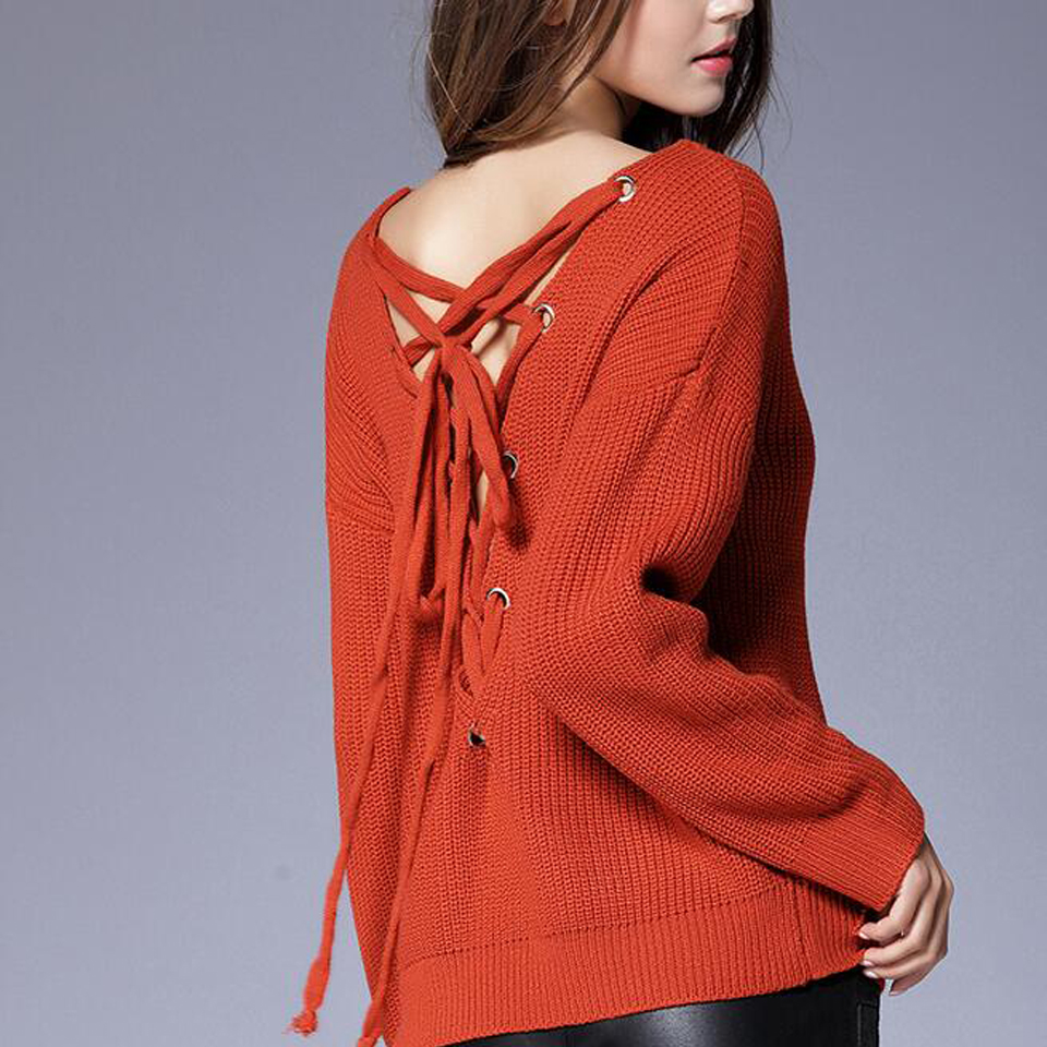 Aliexpress.com : Buy Jumpers Woman Knit Pullovers Sexy Backless ...