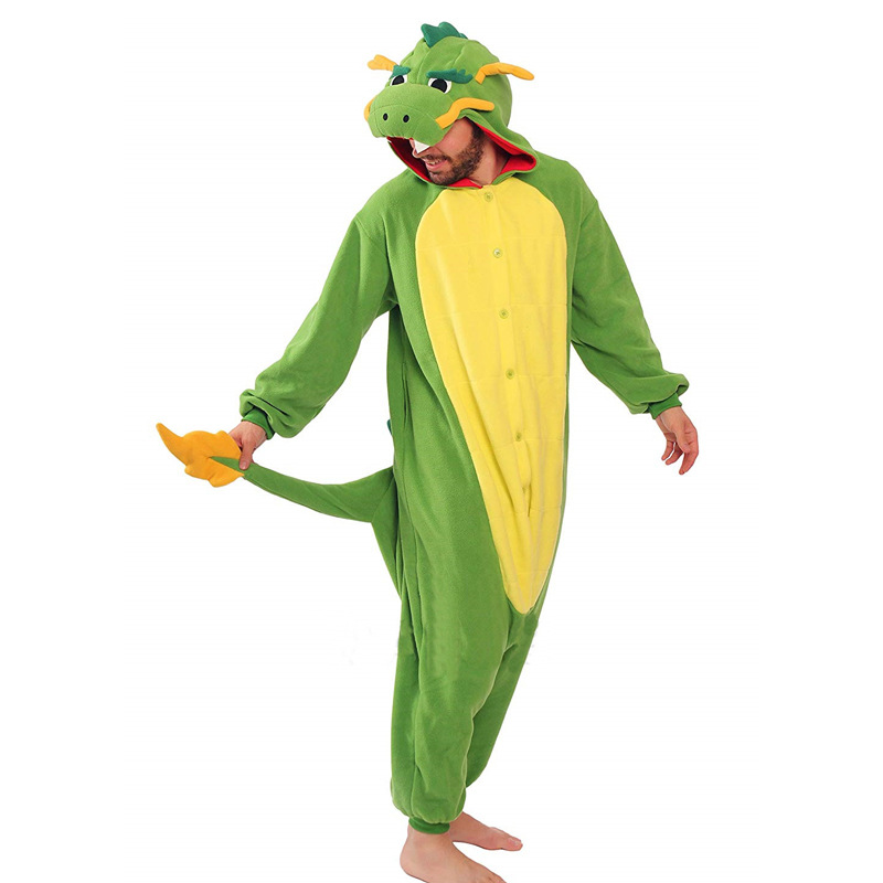 Kigurumi Pajamas Onesie For Adults Green Chinese Dragon Animal Fleece Pajamas Unisex Jumpsui Cosplay Sleepwear Halloween Pyjamas