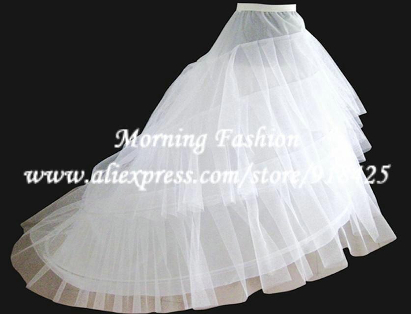 Aliexpress Buy Layered Wedding Dress Crinoline A Line Bridal Petticoat With Train Hoops