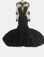 2017 Sexy Black Girl Prom Dresses With 3D Rose Flowers Formal Party Graduation Dress Long Sleeves