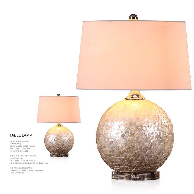 Lampes de Table de coquille d'échelle de poisson de luxe lampe de bureau de chambre à coucher de mariage lumières de Table de salon éclairage à la maison de chevet avec la Base en cristal