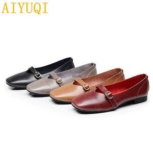 Image 3 - AIYUQI kadın düz ayakkabı 2020 bahar yeni hakiki deri kadın rahat ayakkabılar büyük boy 35 43 rahat anne ayakkabısı kadın