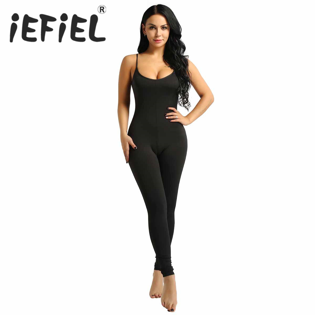 Women Adults Girls Spaghetti Strapped Footless Stretchy Solid Tank Unitard Yoga Dance Leotard Gymnastics Bodysuit Jumpsuit