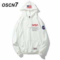 OSCN7 High Street Casual Print Loose Hoodies Men 2019 Fall Fashion Streetwear Harajuku Oversize Hooded Sweatshirt Mens 3001