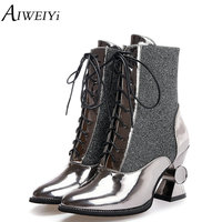 AIWEIYi Women S Winter Shoes Gold Silver High Quality Brand Women Shoes Strange High Heels Warm