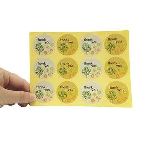 Image 1 - 1200 pçs/lote obrigado pequena árvore de natal cozimento vedação kraft adesivo selo etiqueta diy papel redondo etiqueta atacado