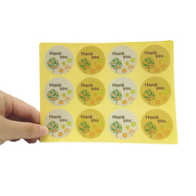 1200pcs/Lot  Thank You Small Tree Christmas Baking Sealing Kraft Sticker Seal Label DIY Round Paper Sticker Label Wholesale
