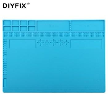 DIYFIX 34x24 cm de aislamiento térmico de silicona con almohadilla de escritorio para soldar teléfono PC ordenador BGA Plataforma de mantenimiento de estera de reparación herramienta de bricolaje