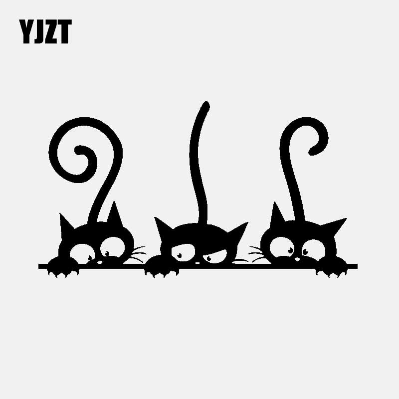 YJZT 14.8CM*8.3CM Lovely Cats Family Car Sticker Vinyl Decal Decor Black/Silver C3-2109
