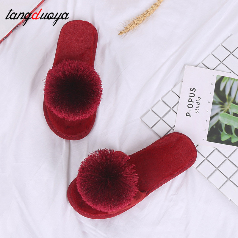 2019 New Women Slides Flip Flop Slippers Cotton Home Indoor Shoes Plush calzado mujer