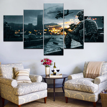 все цены на Battlefield 4 China Rising 5 Panel HD Print Gameplay wall posters Print On Canvas Art Painting For home living room decoration