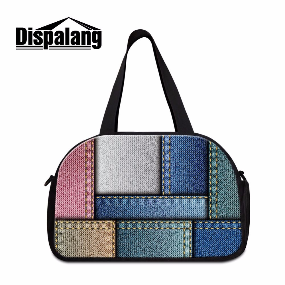 Dispalang new fashion practical independent shoes bit travel bag denim pattern business trip duffle bag travel duffle tote