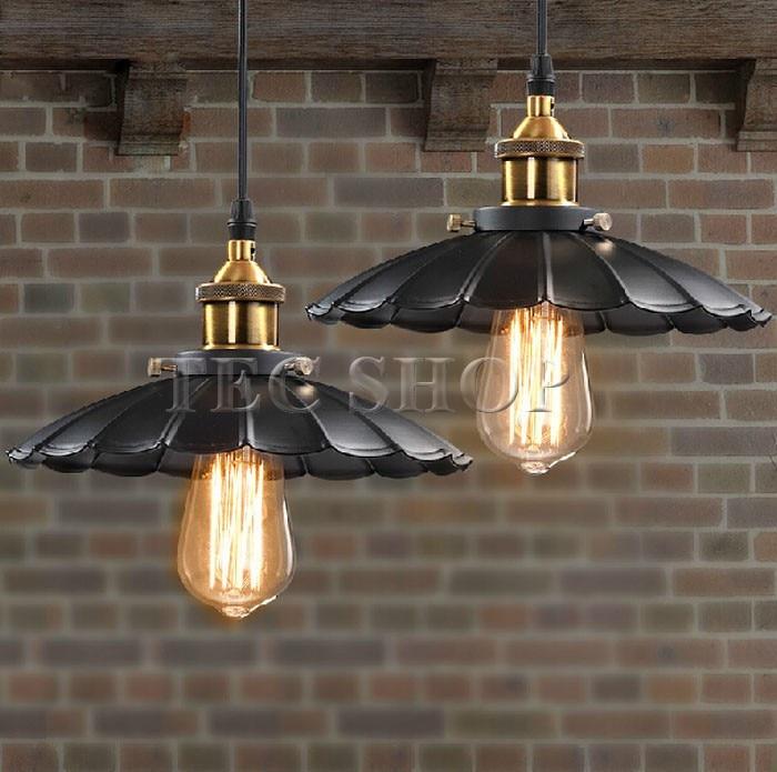 ZYY 1pcs Vintage American Industrial Light LOFT Retro Nostalgia Lamp Cafe bar Restaurant LED Lamps Black Umbrella Pendant Lights - 4
