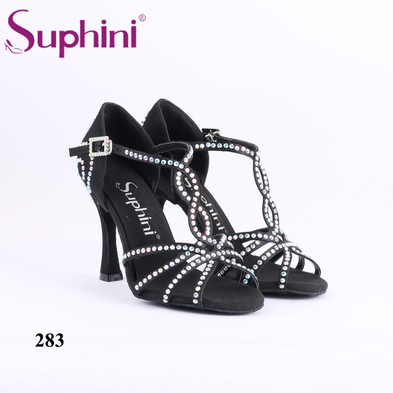 Liquidation stock Suphini Chaussures De Danse Sociale Style Chaussures De Bal De Danse Chaussures Personnalisé Cristal Concurrence Latine Talon Chaussures De Danse