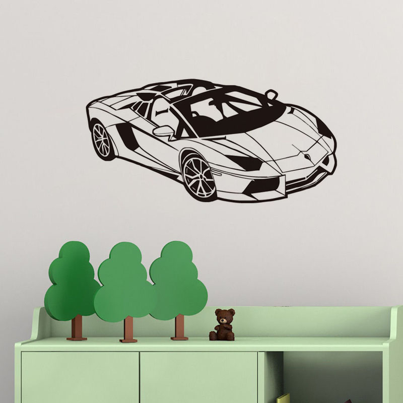 DCTOP Sport Car Wallpaper Vinyl Wall Decals Home Decor For Bedroom - How to make vinyl car decals at home