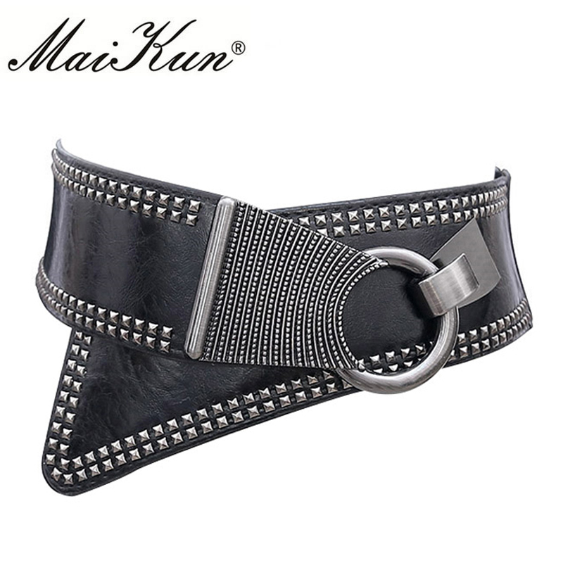 Maikun Fashion Punk Rocker breda ringar för kvinnor Elastic Wide European Style Women Belts Metal Round Buckle
