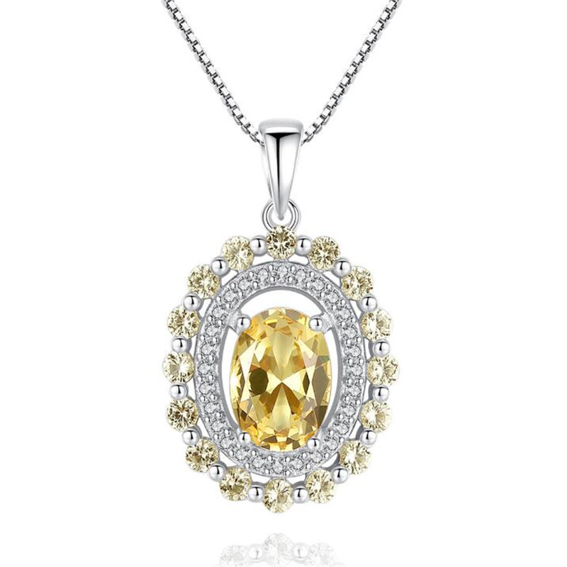 Luxury Precious Stone Choker Classic Xmas Gift 925 Sterling-Silver Pendant Crystal Necklace Christmas Green Gem Fine Jewelry