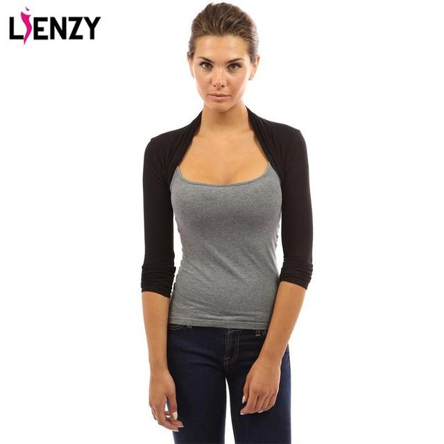 LIENZY Solid Women's Long Sleeve Slim Casual Bolero Shrug 4 Color 3 Size Short Coat For Spring Women Clothing