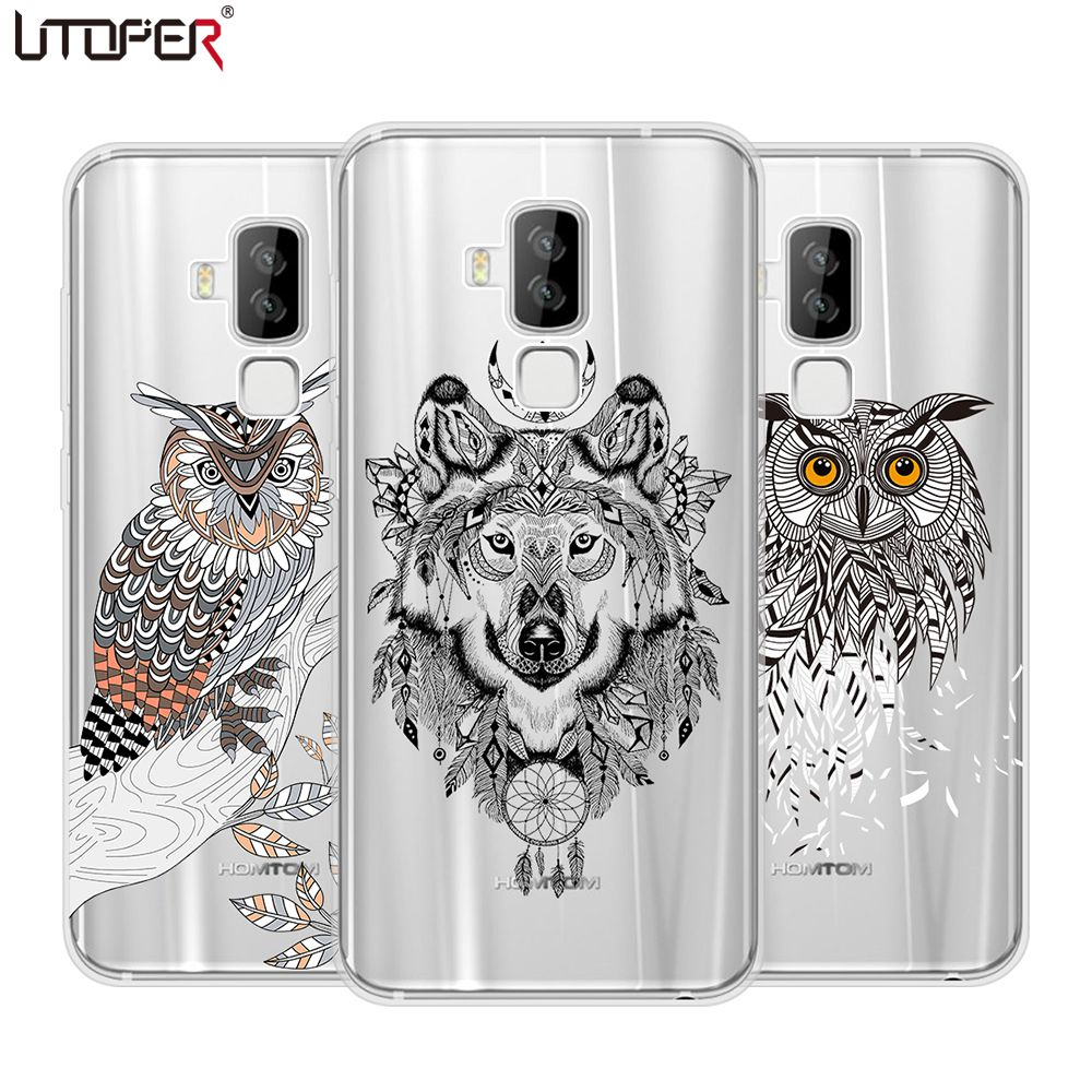 UTOPER Pattern Case For Homtom S8 Case Silicon Soft Capa For Homtom S9 Plus Case Wolf Owl Animal Case For Homtom S8 Cover Fundas