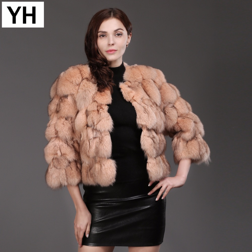 New Fashion Lady Real Fox Fur Coat 100 Natural Soft Fox Fur Short Jacket Winter Warm