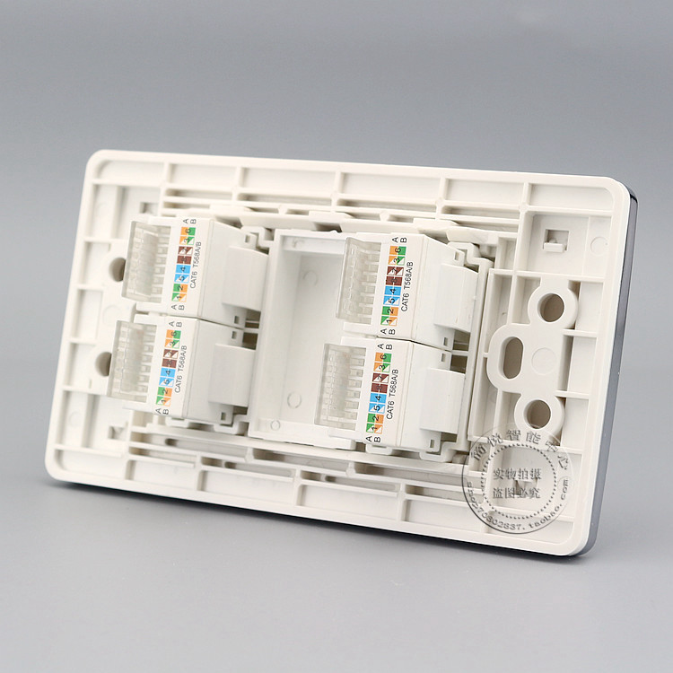 120MM Gigabit Wall Plate 4 Ports RJ45 CAT6 Network LAN Socket Panel Faceplate Outlet Adapter 86x86mm single double port rj45 thick wall plate faceplate wall mount installation with rj45 & rj11 keystone socket outlet