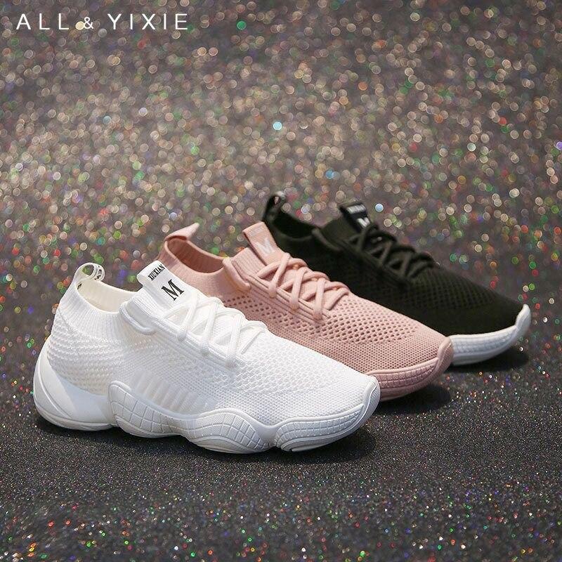 ALL YIXIE 2019 Fashion Spring Summer Wild White Breathable Women Sneakers Korean Sports Leisure Shoes Black Vulcanize Shoe