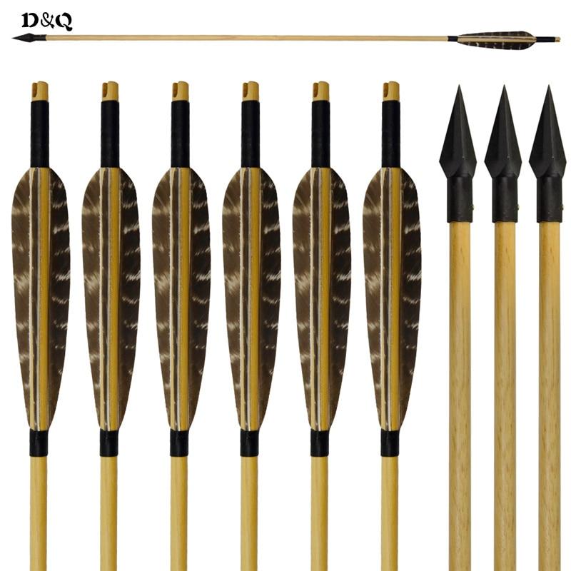 6 шт. ручной работы деревянный Вал стрельба из лука Охота стрелы для традиционного Изогнутый длинный лук целевой Стрельба Спорт с Броудхед с... ...
