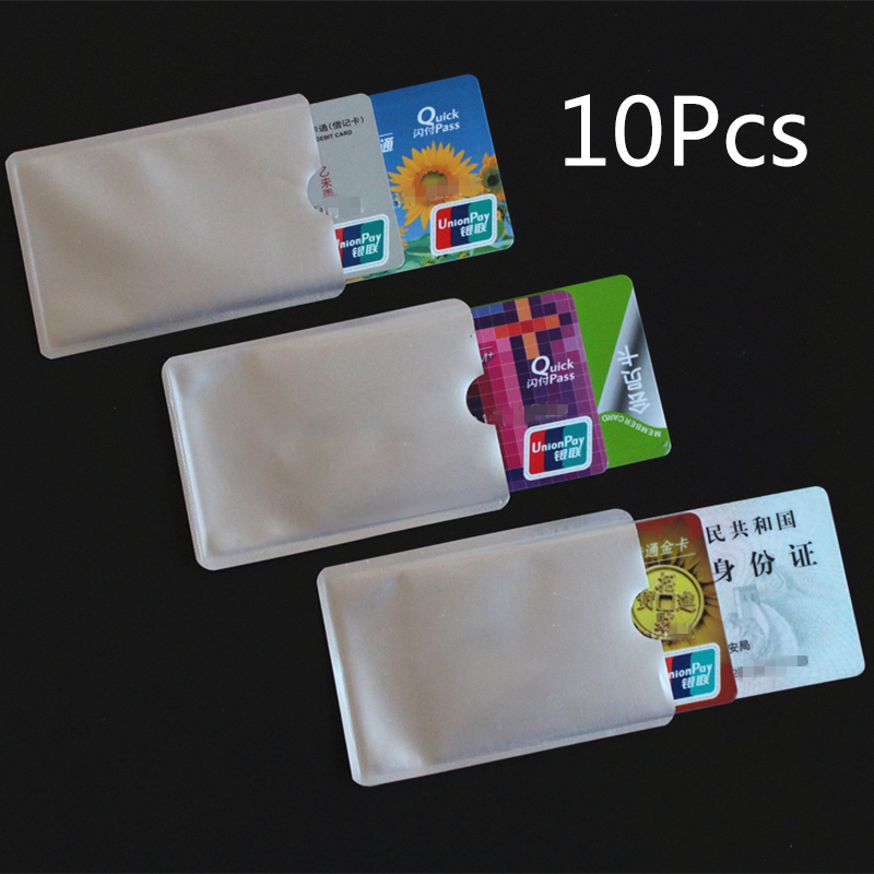 10pcs Silver Anti Scan RFID Sleeve Protector Credit ID Card Aluminum Foil Holder Anti-Scan Card Sleeve Easy To Carry