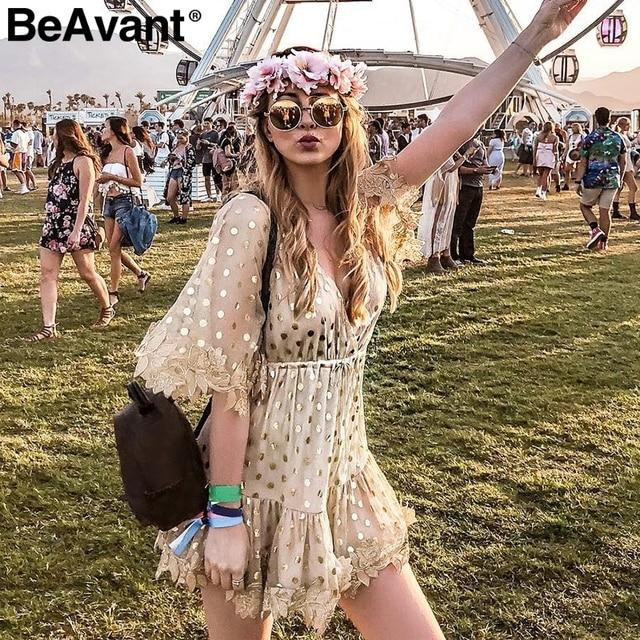 Sequin Mesh Mini Dress BeAvant Backless sexy sequined mesh mini dress Women transparent party  summer dress femme Elegant tassel v