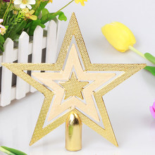 New Shiny Decorative Gold Christmas Xmas Star Tree Topper Pendant Charm for Table Top Ornament Christmas Party Home Decorations(China)