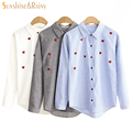 2016 autumn women sweet heart embroidery blouse Petal collar striped  blouses female long sleeve cotton women pot shirts tops