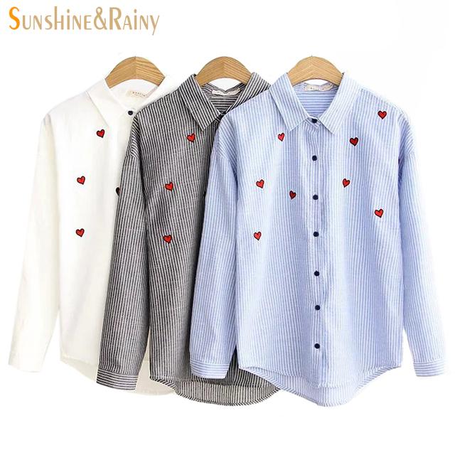 2016 mulheres de outono doce coração bordado blusa Pétala collar listrado blusas femininas de manga longa de algodão mulheres pot camisas tops