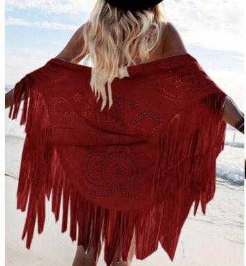 Fashion   jacket   coat sexy cutout flower top deerskin cashmere tassel cape outerwear female   basic     jackets   shawl 31815