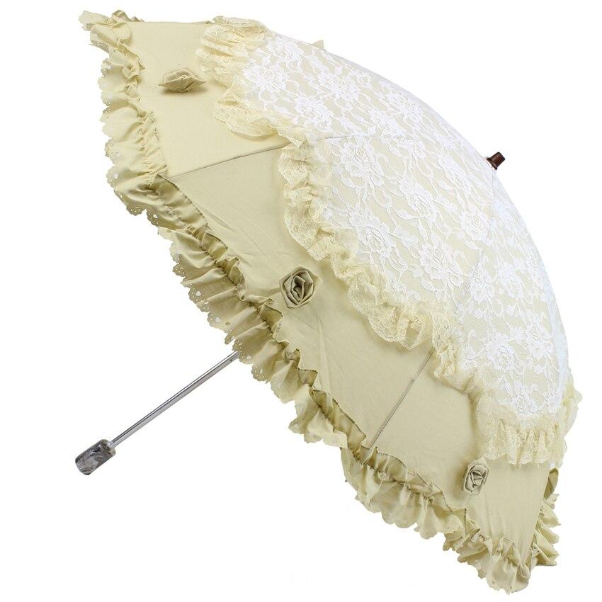 Nouveau double couche deux pliant dentelle parapluie Anti-UV Non automatique parapluie pluie femmes broderie parapluie double usage parasol