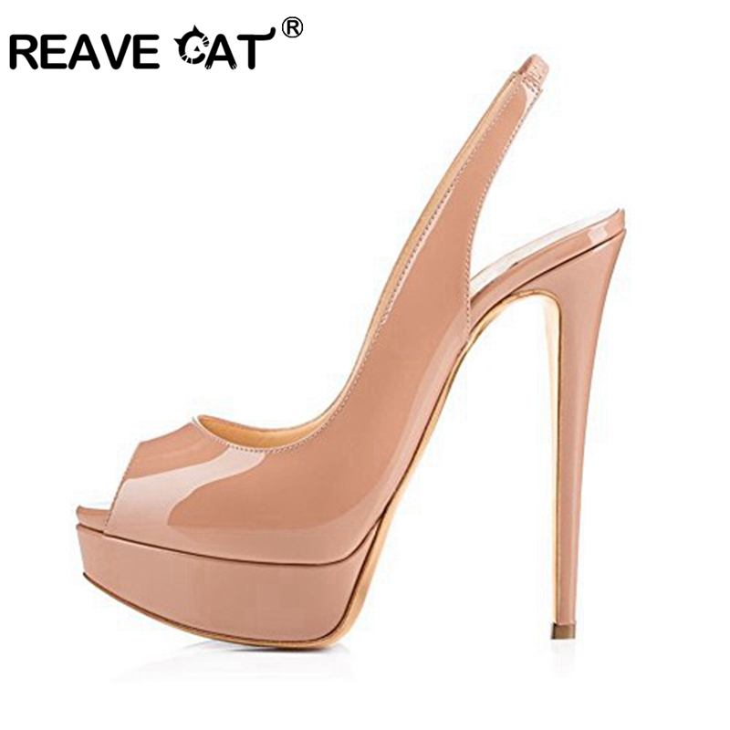REAVE CAT 2019 woman ultra High heels Ladies pumps Peep toe Patent leather Platform striper Spring