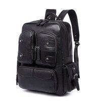 Fashion Man Laptop Backpack PU Leather School Bag Waterproof Male Travel Bags Softback Computer Bag Large Capacity Men Backpack