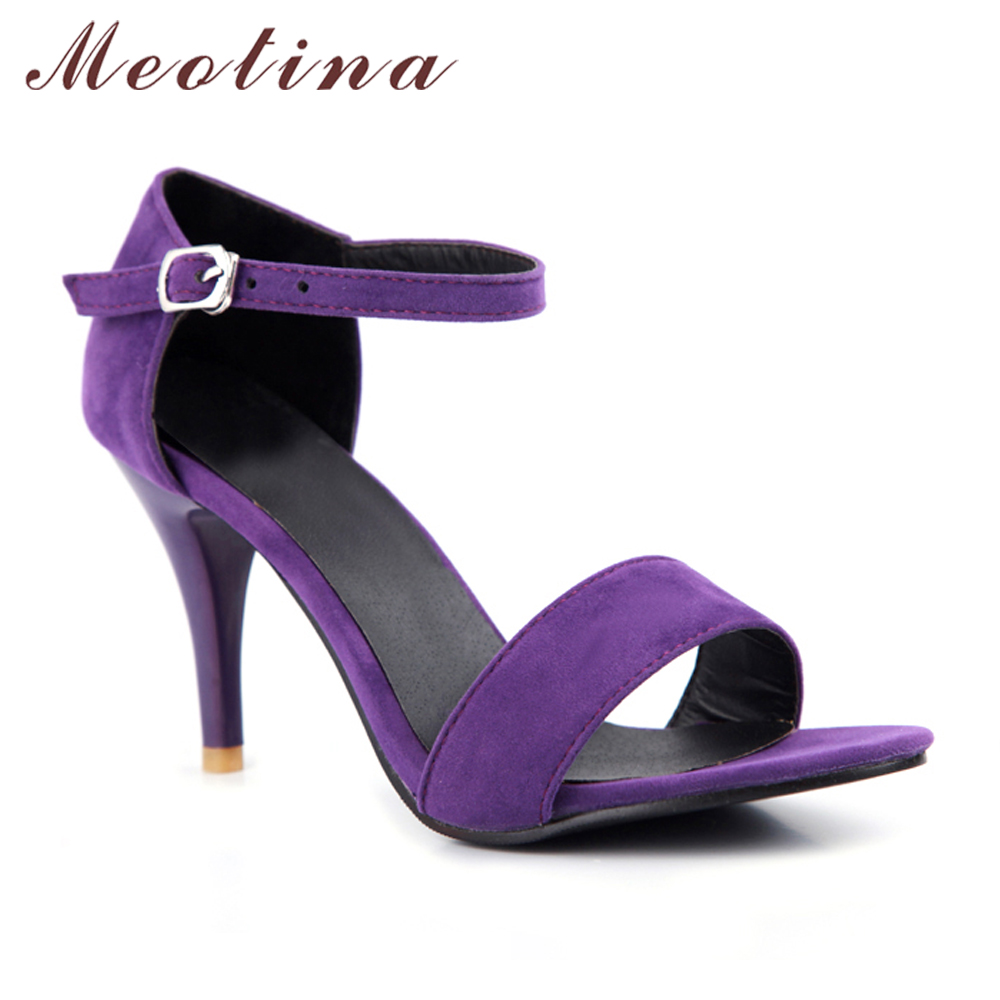 a7d110626d676 Meotina Shoes Women Sandals Summer Sexy Stiletto High Heel Sandals Open Toe  Ankle Strap Party Pumps Lady Shoes Purple Size 34 43-in High Heels from  Shoes on ...