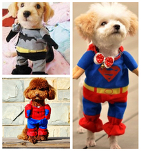 New Lovely Pet Cat Dog Superman Clothes Costume Suit Puppy Outfit Apparel Jumpsuit Clothing for Dogs Free Shipping