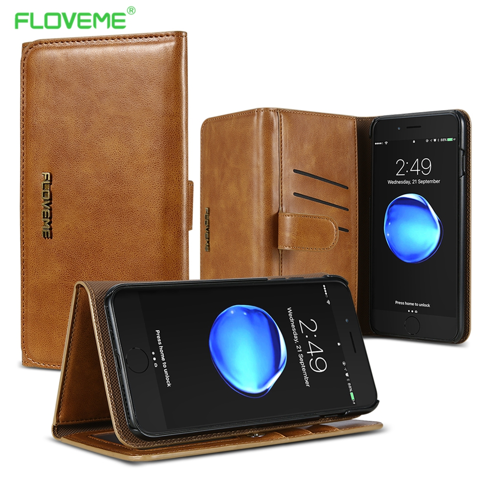 FLOVEME Case For iPhone 6 6s 7 Plus 8 Plus Wallet Case Retro PU Leather Phone Pouch Bag For iPhone X 6 6s 7 8 Phone Accessories