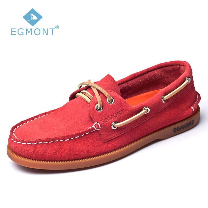 Egmont EG-52 Red Spring Summer Boat Shoes Mens Casual Shoes Loafers Genuine Leather Handmade Comfortable Breathable цены онлайн