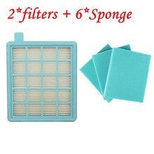 2 * filtr Hepa + 6 * bawełna dla Philips PowerPro Compact/Active FC8058 FC9320 FC9329 Fc8630 Fc8639 Fc8640 Fc8649 części do czyszczenia