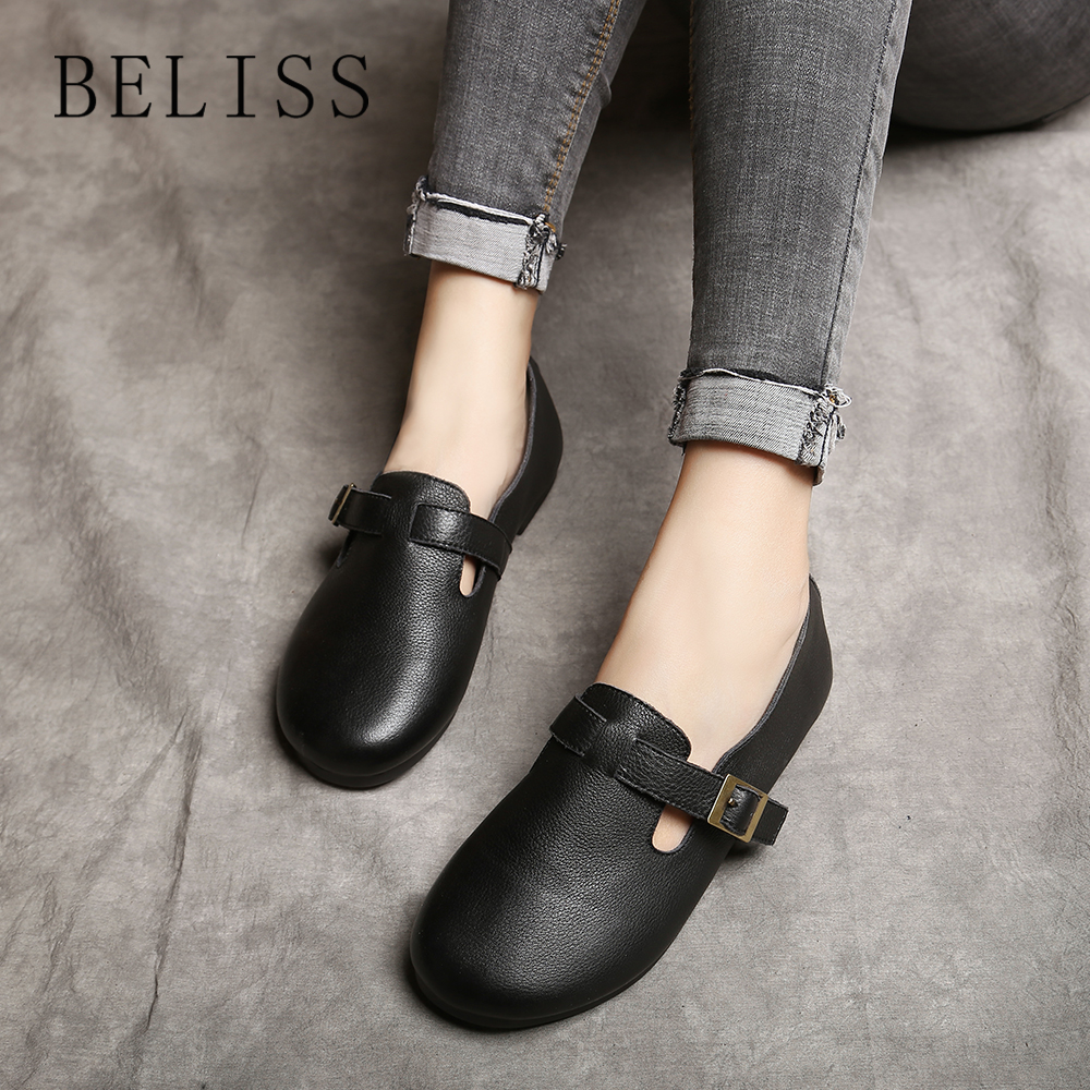 BELISS 2018 spring and autumn with flat soles top quality leather-based handmade smooth informal footwear snug spherical toe footwear P8 Girls's Flats, Low cost Girls's Flats, BELISS 2018 spring...