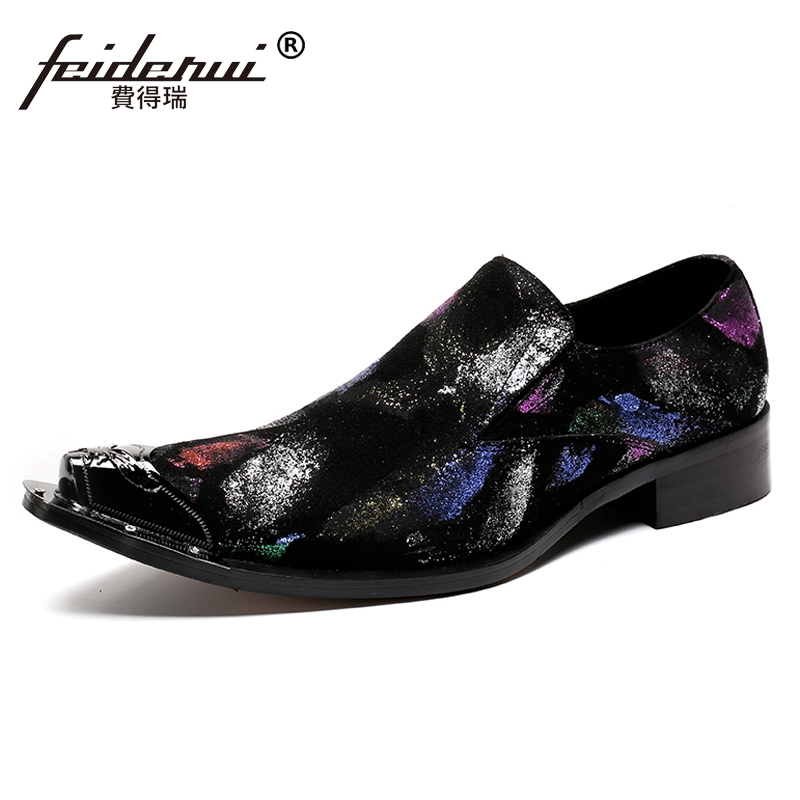 Plus Size Black Pointed Toe Slip on Man Loafers Cow Suede Leather Height Increasing Party Men's Runway Shoes For Male SL60 large size mens luxury fashion party nightclub cow leather shoes slip on breathable rhinestones shoe pointed toe loafers sapatos