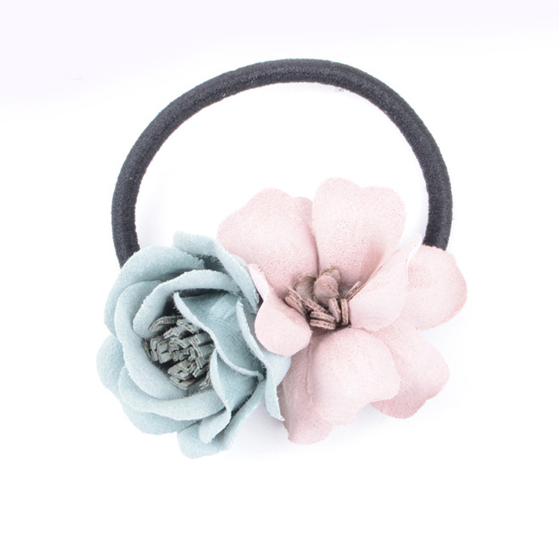 5pcs Fashion Flower Elastic Hair Rubber Bands Ties Headwear Ring Rope Accessories for Women Girls Scrunchie Ponytail Holder