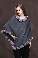 Lady's Genuine Real Cashmere Genuine Rex rabbit Fur Coat Cloak Poncho/shawl//cape Wraps