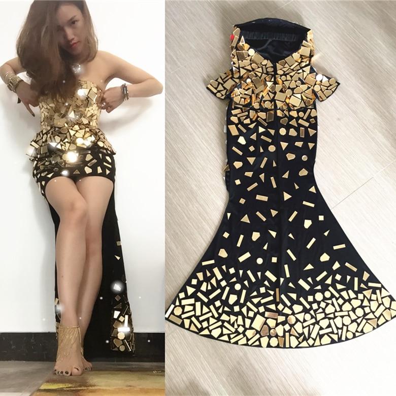 Handmade Women's Gold Mirrors Costume Top Skirt Dance Wear Female Singer Evening Dress Shallow Long Trailing Tube Mirror Costume