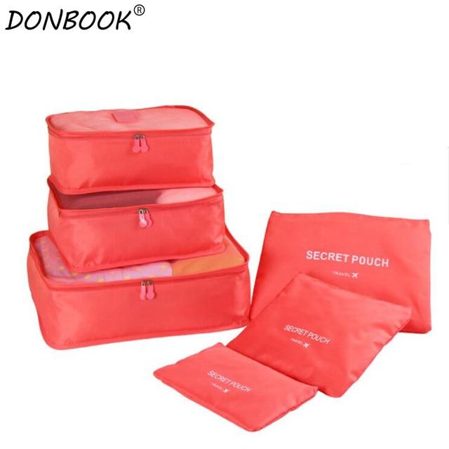 Donbook 6 Pcs Travel Storage Bag Set For Clothes Tidy Organizer Pouch Suitcase Home Closet Divider